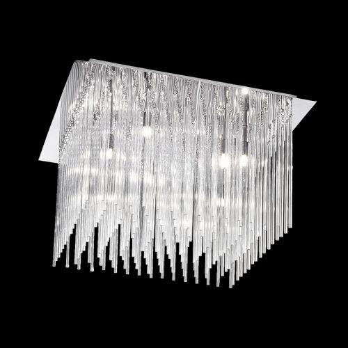 Flush Ceiling Fitting 10 Light Chrome Glass Rods Marimba LEK60466