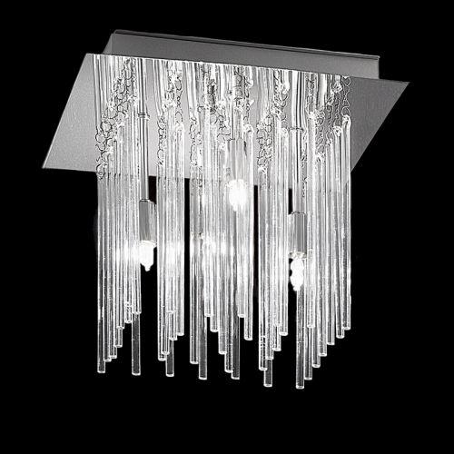 Flush Ceiling Fitting 4 Light Polished Chrome Glass Rods Marimba LEK60468