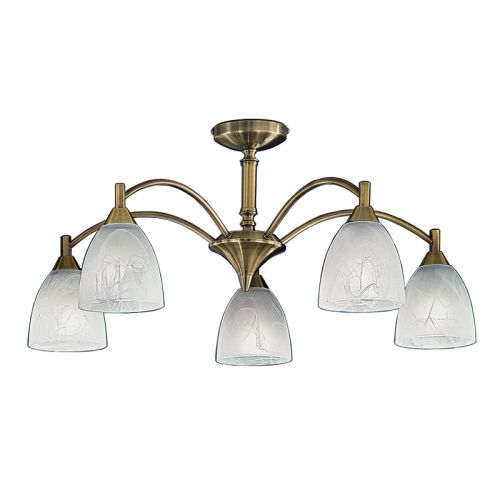 Semi-Flush Ceiling Fitting 5 Light Bronze Alabaster Shade Harriet LEK60474