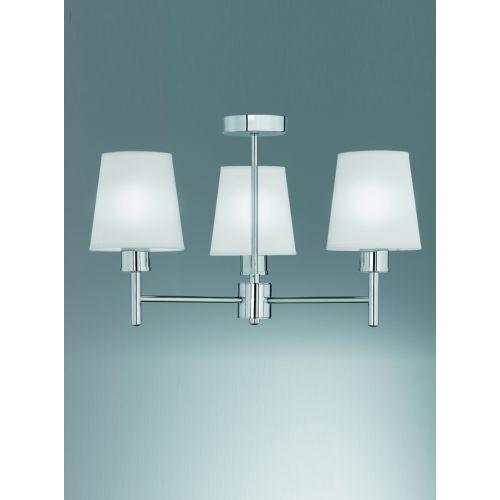 Semi-Flush Ceiling  3 Light Fitting Cream Shades Impulse LEK60482