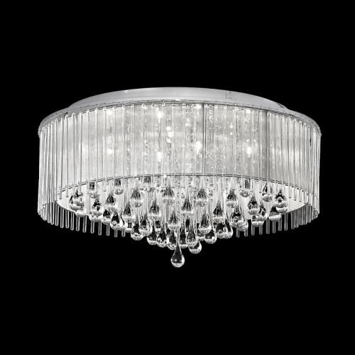 Flush Ceiling Fitting 8 Light Crystal And Glass Drops Polished Chrome Liberty LEK60841