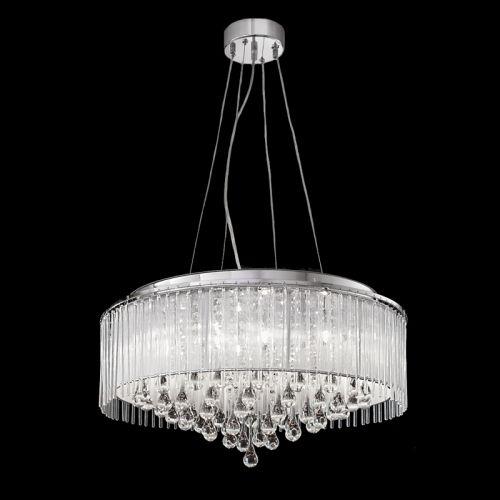 Chrome Ceiling Pendant 8 Light Ceiling Fitting Crystal Glass Drops Liberty LEK60844