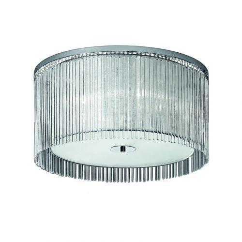Flush Ceiling 4 Light Fitting Chrome Shade And Glass Rods Philia LEK61161
