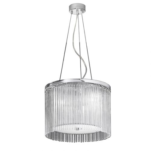 Ceiling Pendant Light Fitting Chrome Shade And Glass Rods Philia LEK61162