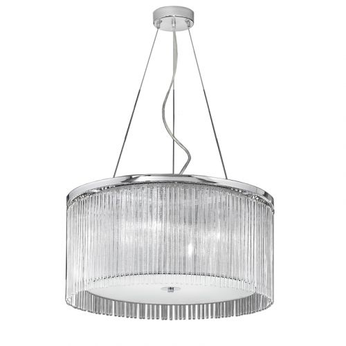 Ceiling Pendant Light Fitting Chrome Shade And Glass Rods Philia LEK61163