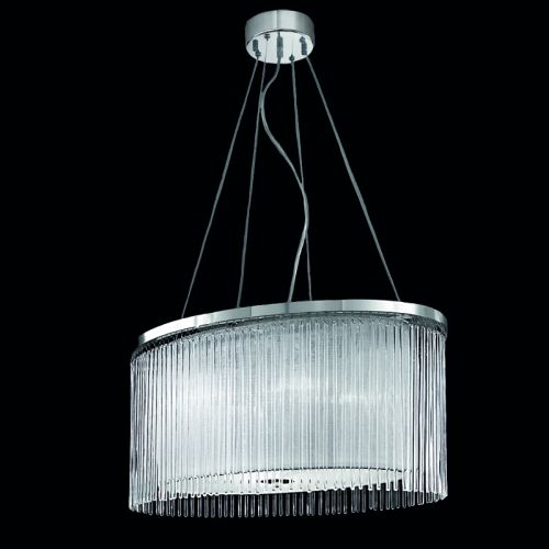 Oval Ceiling Pendant Fitting Chrome Shade And Glass Rods Philia LEK61164
