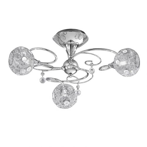 Semi-Flush Ceiling Fitting 3 Light Chrome Crystal Discs Rigel LEK61183