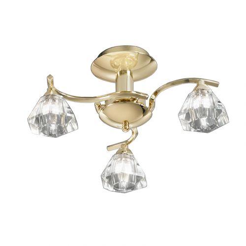 Semi-Flush Ceiling 3 Light Fitting Brass Sirocco LEK61330
