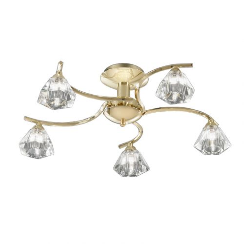 Flush Ceiling 5 Light Fitting Polished Brass Sirocco LEK61331