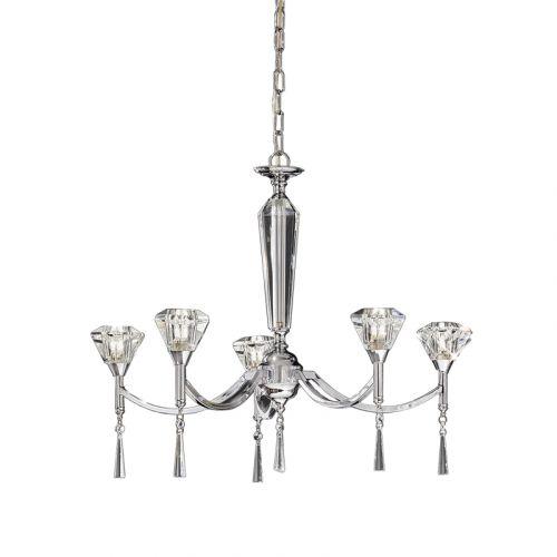 Crystal Multi-Arm Ceiling Fitting 5 Light Chrome Elevir LEK61343