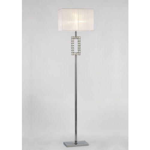 Diyas IL31537 Florence Renctangle Floor Lamp White Shade 1 Light Polished Chrome Crystal