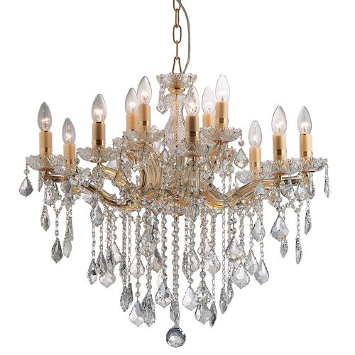 Ideal Lux 035611 Florian Marie Therese 12 Arm Crystal Chandelier Gold