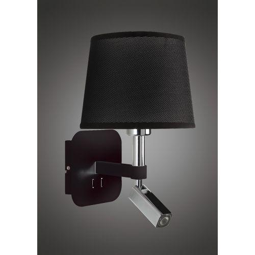 Mantra M5317 Habana Wall Lamp 1 Light Without Shade E27 Reading Light 3W LED Black Polished Chrome 3000K 200lm