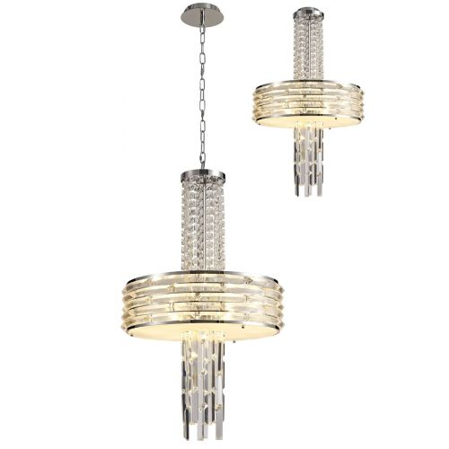 Crystal Semi Flush Pendant Ceiling Light Fitting Convertible Chrome Lekki Hotelier LEK3115
