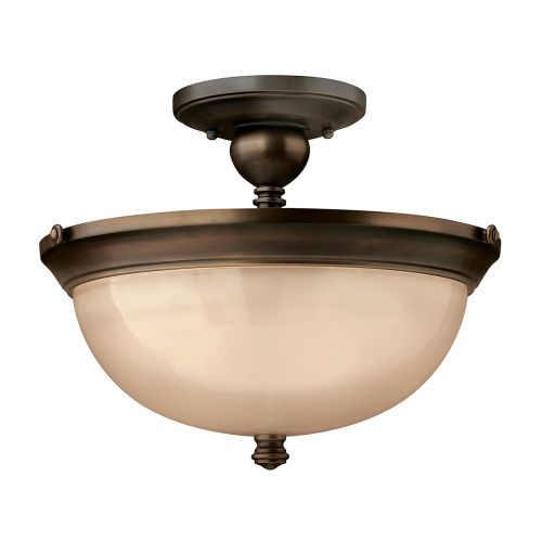 Hinkley HK/MAYFLOWER/SF 3Lt Semi-Flush Antique Brass Ceiling Light