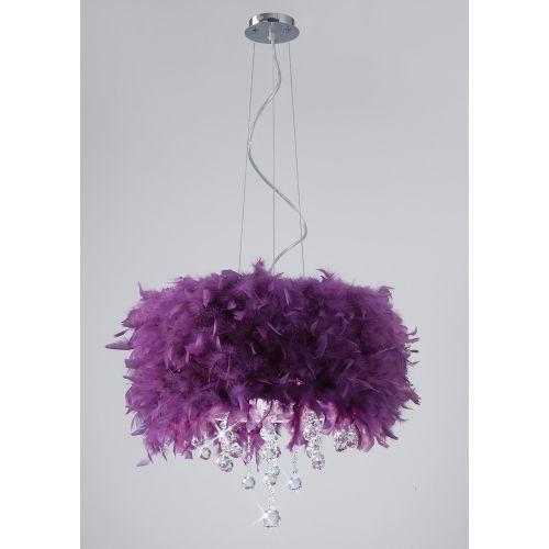 Diyas Ibis Purple Feathered Pendant Fitting IL30742-PU