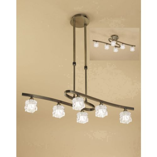 Mantra Ice 6 Light Antique Brass Ceiling Fitting M1861