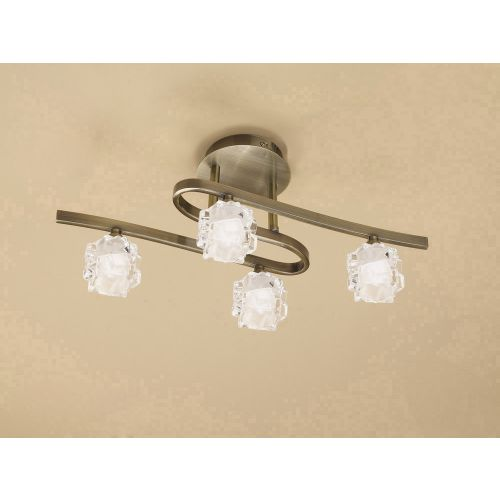 Mantra Ice 4 Light Antique Brass Ceiling Fitting M1863