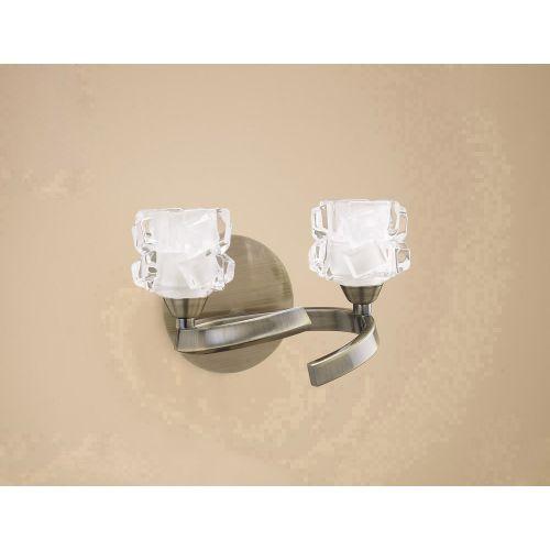 Mantra Ice 2 Light Antique Brass Wall Light M1864/S