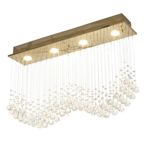 Diyas Colorado 4 Light Rectangular Pendant French Gold/Crystal IL31381