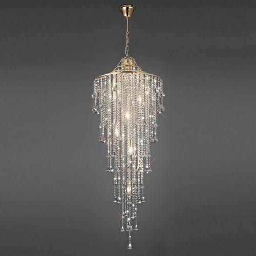 Diyas Inina 9 Light Tall Pendant E14 French Gold/Crystal IL32775