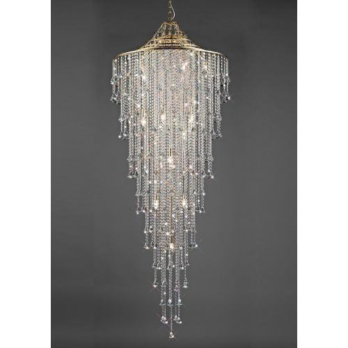 Diyas Inina 15 Light Tall Pendant  E14 French Gold/Crystal IL32776