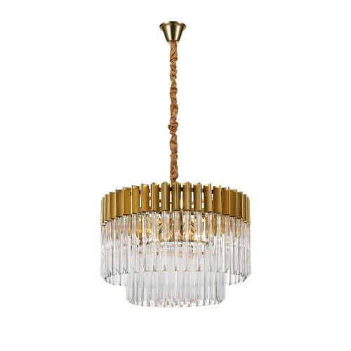 Round Pendant 8 Light E14 Brass/Glass Irvin LEK3313