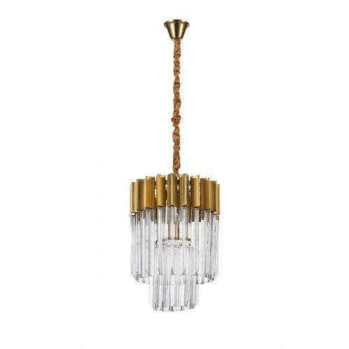 Round Pendant 4 Light E14 Brass/Glass Irvin LEK3314