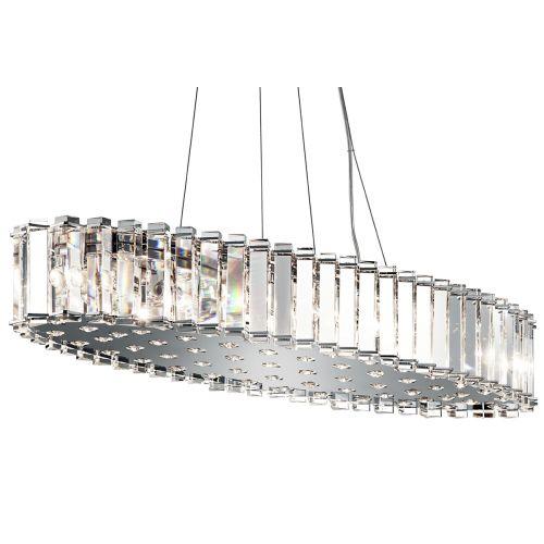 Kichler Crystal Skye Ceiling Fitting 12 Light LED Chrome Bar Pendant IP44 KL/CRSTSKYE/I/L