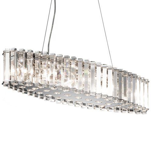 Kichler Crystal Skye Ceiling Fitting 8 Light LED Chrome Bar Pendant IP44 KL/CRSTSKYE/ISLE