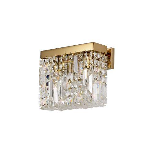 Rectangular Small Wall Lamp 2 Light E14 Gold/Crystal Kondo LEK3646