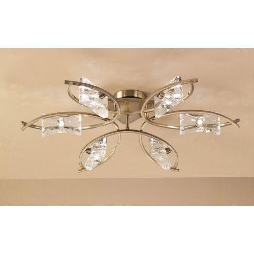 Mantra M0886AB Kromo 6 Light Semi-Flush Ceiling Fitting G9 Antique Brass