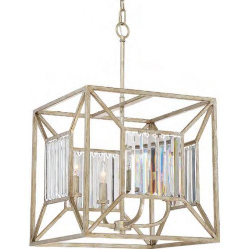 Quoizel QZ/LAKESIDE4/P/B Lakeside 4 Light Vintage Gold Ceiling Pendant Fitting