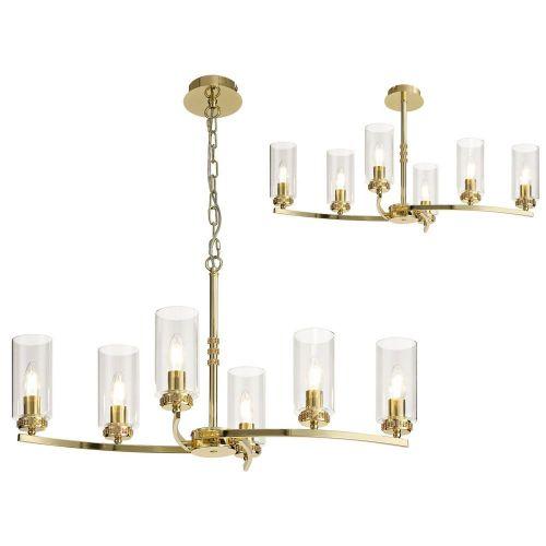 Semi Flush/Pendant Ceiling Light Fitting Gold Lekki Joss LEK3092