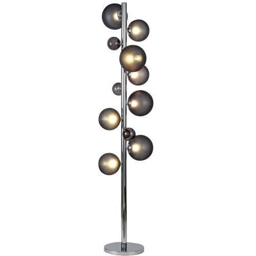 Floor Lamp 8 Light Chrome Smoked Glass Lekki Rocco LEK3251