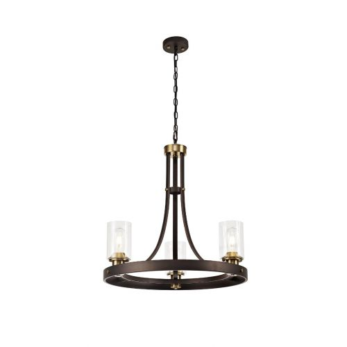 Ceiling Pendant 3 Light with Clear Glass Shades Brown Oxide/Bronze Brusen LEK3412