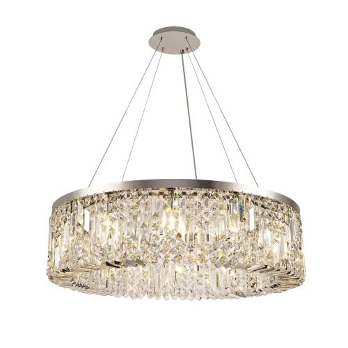 Round Pendant Chandelier 12 Light E14 Polished Chrome/Crystal Kondo LEK3634