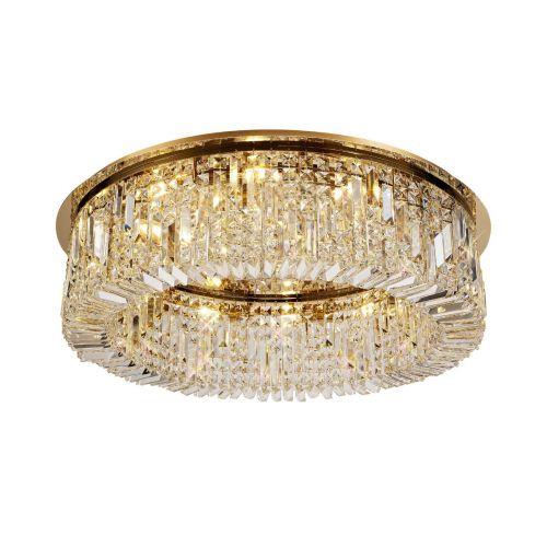 Round Flush Chandelier 12 Light E14 Gold/Crystal Kondo LEK3641