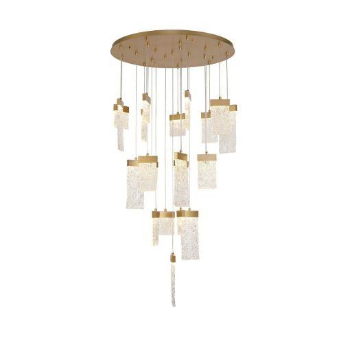 Ceiling Pendant Round 21 Light LED Painted Brushed Gold Kimera LEK3688