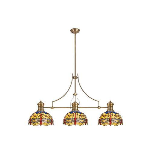Linear Bar Pendant 3 Light Tiffany Shade Antique Brass/Blue/Orange/Crystal Lekki Larson/Harla LEK4262