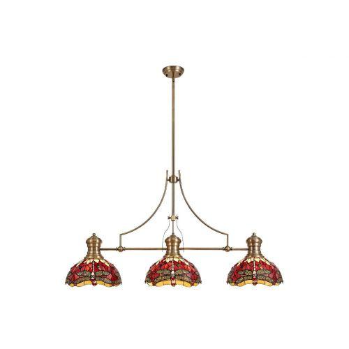 Linear Bar Pendant 3 Light Tiffany Shade Antique Brass/Purple/Pink/Crystal Lekki Larson/Harla LEK4263