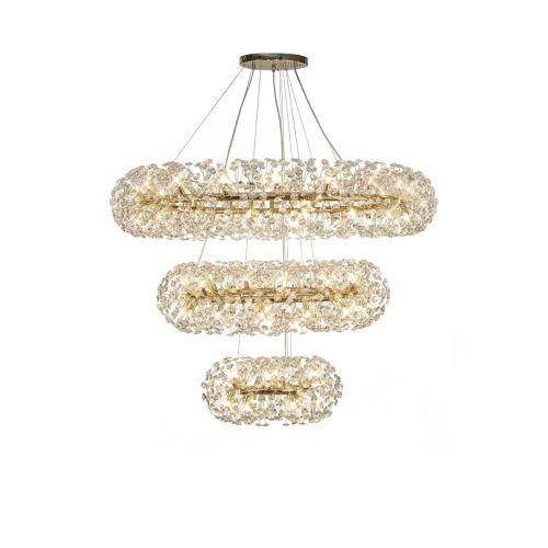 Ceiling Pendant 3 Tier 74 Light G9 French Gold/Crystal Discord LEK4297