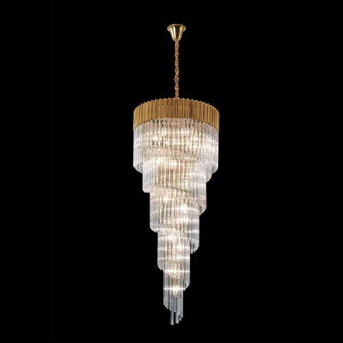 Round Ceiling Pendant 5 Tier 23 Light E14 Brass/Clear Glass Irvin LEK4323