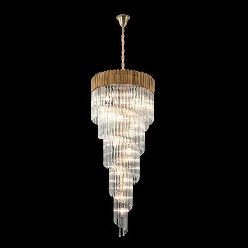 Round Ceiling Pendant 7 Tier 31 Light E14 Brass/Clear Glass Irvin LEK4324