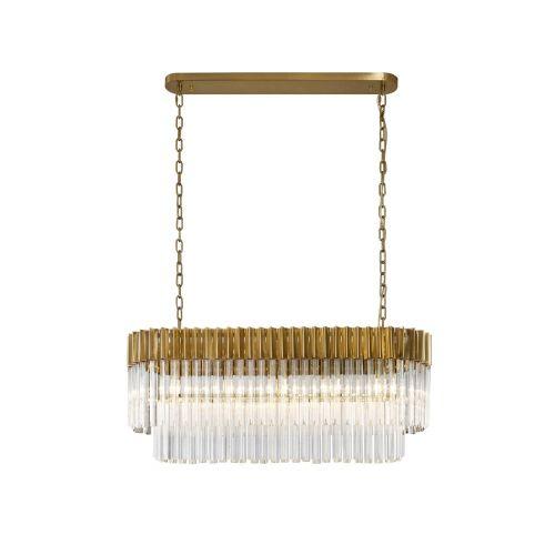 Linear Bar Pendant 5 Light E14 Brass/Clear Glass Irvin LEK4325