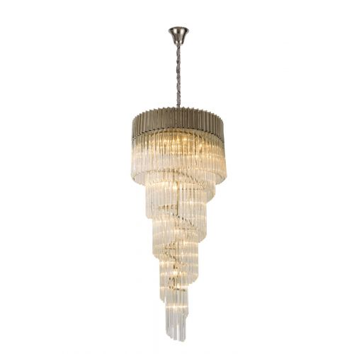 Round Ceiling Pendant 5 Tier 23 Light E14 Polished Nickel/Clear Glass Irvin LEK4335