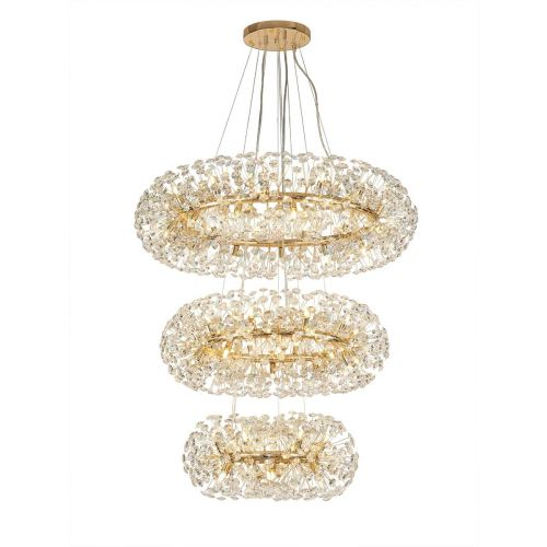 Ceiling Pendant 3 Tier 58 Light G9 French Gold/Crystal Discord LEK4467
