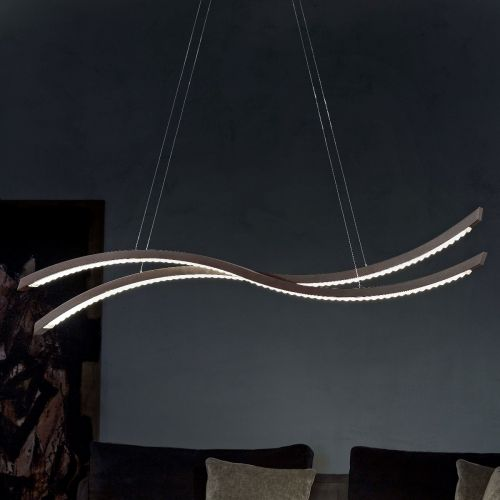 Masiero Libe Ceiling Large 160cm LED Bar Pendant Dark Wood LIBE-S160-W03