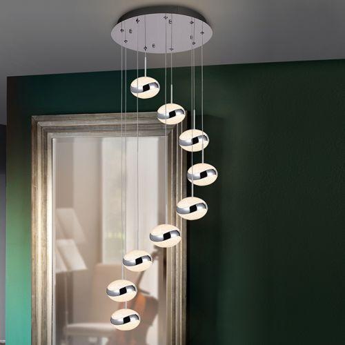 Schuller Lipse 377934 LED Crystal 9 Light Spiral Pendant Chrome Frame
