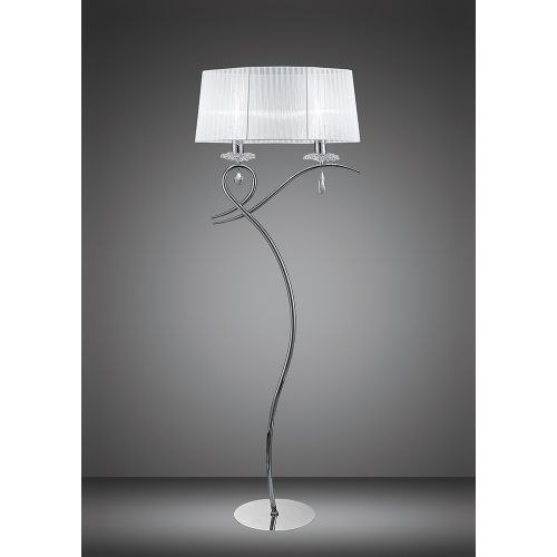 Mantra M5280 Louise Floor Lamp 2 Light E27 White Shade Polished Chrome Clear Crystal
